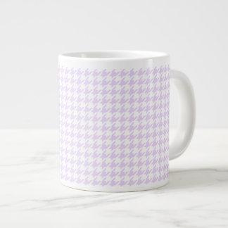 Houndstooth pattern - lilac purple large coffee mug