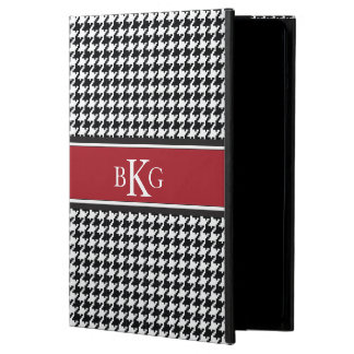 Houndstooth Pattern & Monogram | Black White Red iPad Air Cover