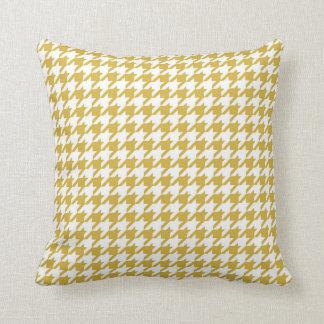 Houndstooth Pattern Mustard Yellow Cushion