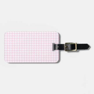 Houndstooth pattern - pastel pink luggage tag