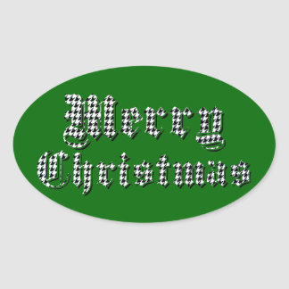 Houndstooth Print Merry Christmas Oval Sticker
