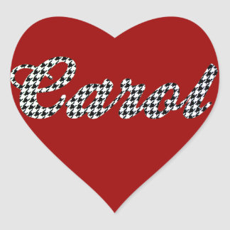 Houndstooth Print Name Carol Heart Stickers