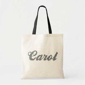 Houndstooth Print Name Carol Tote Bag