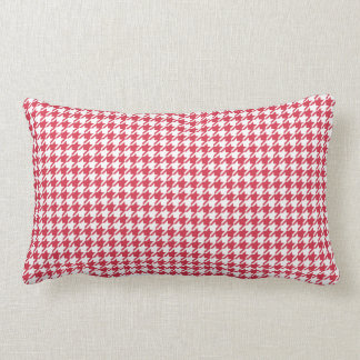 Houndstooth RED ANY COLOR BACKGROUND Lumbar Cushion