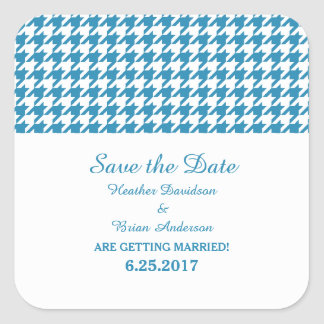 Houndstooth Save the Date Stickers, Blue