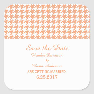 Houndstooth Save the Date Stickers, Orange