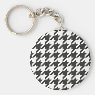 Houndstooth seamless grey, black and white pattern basic round button key ring