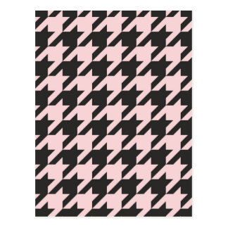 Houndstooth seamless pastel pink and black pattern postcard
