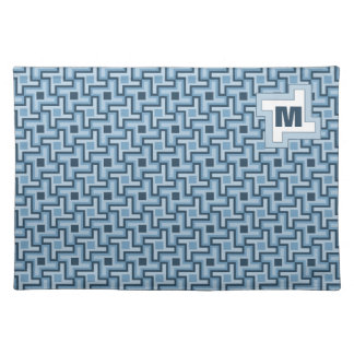 Houndstooth Style Geometric Tessellation in Blue Placemat