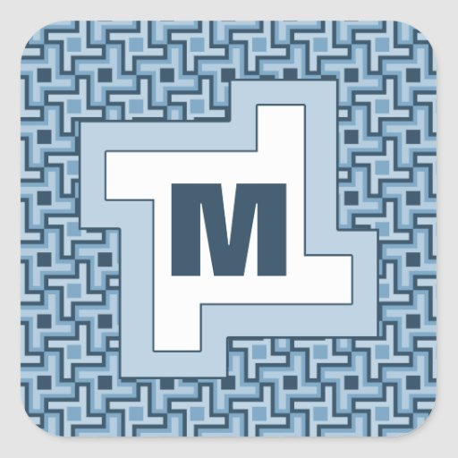 Houndstooth Style Geometric Tessellation in Blue Square Sticker