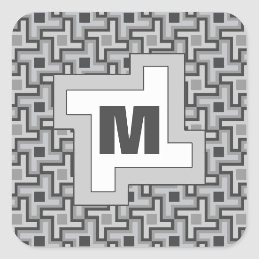 Houndstooth Style Geometric Tessellation in Grey Square Sticker