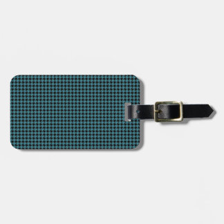 Houndstooth Teal and Black Luggage Tag