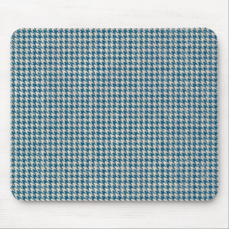 Houndstooth Teal Blue Pattern Mouse Pad