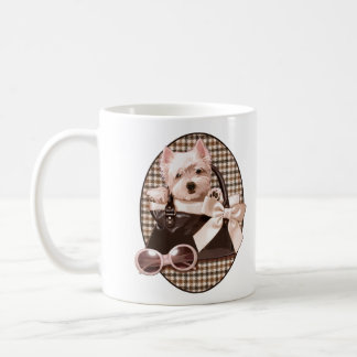 Houndstooth Westie puppy Coffee Mug
