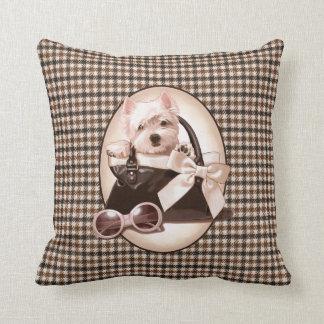 Houndstooth Westie puppy Cushion
