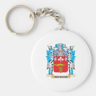 Hourigan Coat of Arms - Family Crest Basic Round Button Key Ring