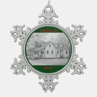 House 2 snowflake pewter christmas ornament