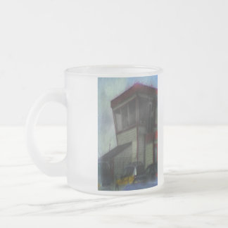 house and car frosted glass mug