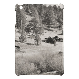 house and mountain in sepia case for the iPad mini
