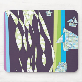 House and Organic Pattern Mouse Pad