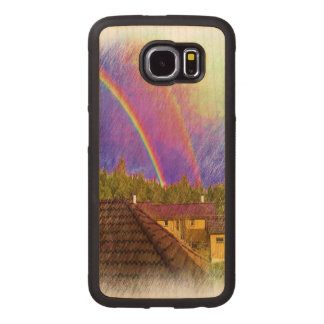House and rainbow wood phone case