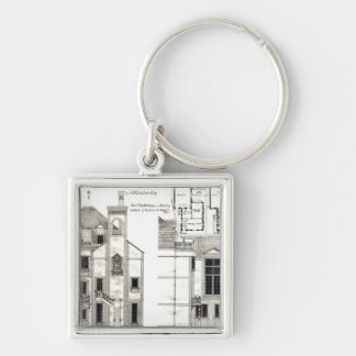 House and Studio, Steele's Road, Haverstock Silver-Colored Square Key Ring