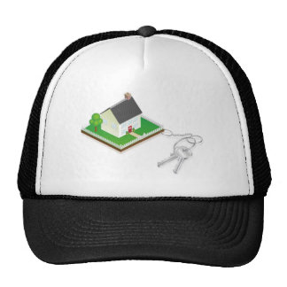 House attached to keys as keyring mesh hat