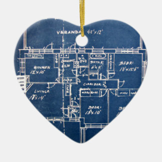 House Blueprints Christmas Ornament