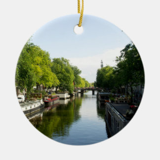 House Boats on Amsterdam Canal Christmas Ornament