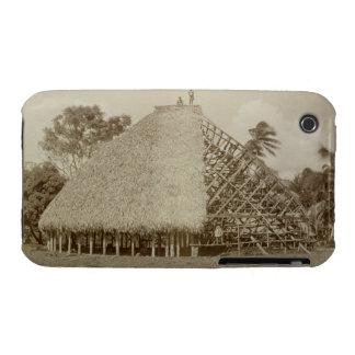 House Building in Samoa, c.1875 (sepia photo) iPhone 3 Case