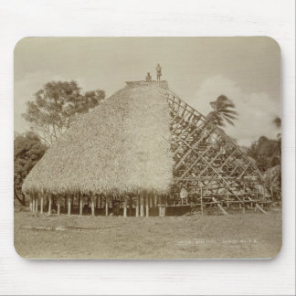 House Building in Samoa, c.1875 (sepia photo) Mouse Pad