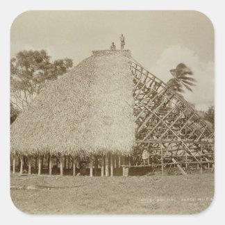 House Building in Samoa, c.1875 (sepia photo) Square Sticker