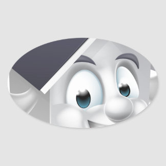 House Cartoon Character Oval Sticker
