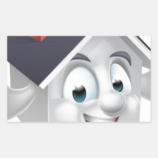 House Cartoon Character Rectangular Sticker
