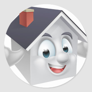 House Cartoon Character Round Sticker
