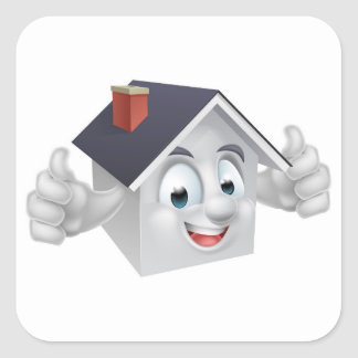 House Cartoon Character Square Sticker