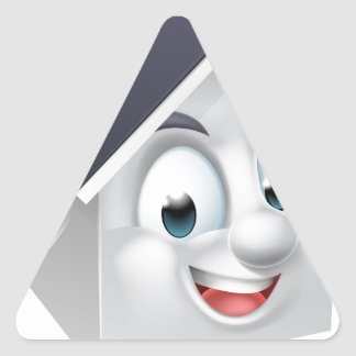 House Cartoon Character Triangle Sticker