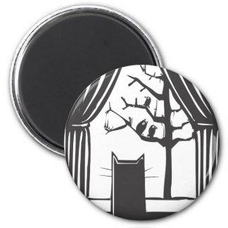 House Cat 6 Cm Round Magnet