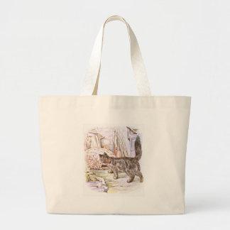House Cat Acting Curious Artwork Jumbo Tote Bag