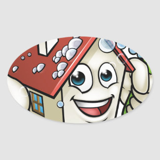 House Cleaning Cartoon Character Oval Sticker
