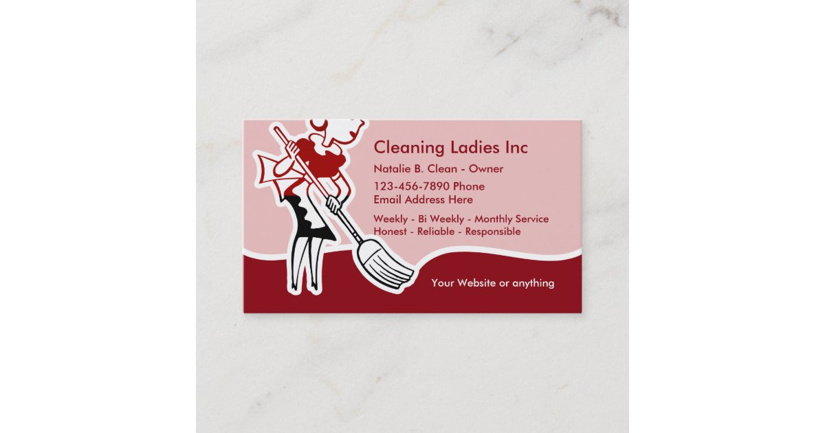 House Cleaning Maid Business Card | Zazzle.co.uk