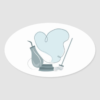 House Cleaning Oval Sticker