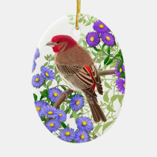 House Finch in Wildflowers Holiday Ornament