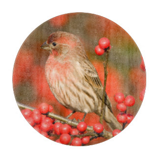 House Finch on Common Winterberry Cutting Board