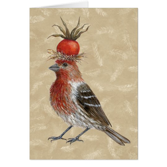 House finch on feathers card
