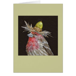 house finch with acorn card