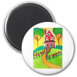 HOUSE FOLK ART FRIDGE MAGNET