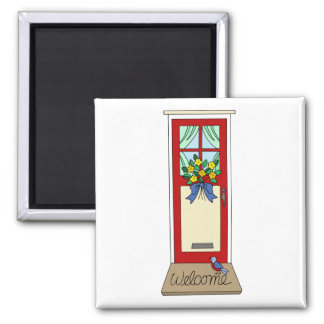 House Front Door Welcome Mat Square Magnet