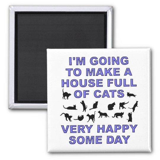 House Full Of Cats Funny Cat Lady Fridge Magnet