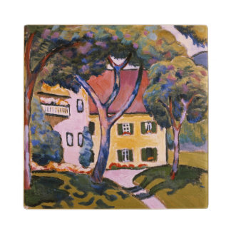 House in a Landscape Wood Coaster